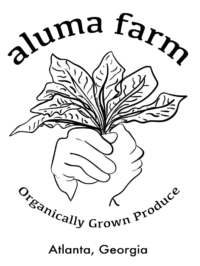 """The logo for Aluma Farm. It features two hands holding each other and between them is a bundle of greens. Above the hands is the text """"Aluma Farm"""" and below """"organically grown produce, Atlanta, Georgia""""."""