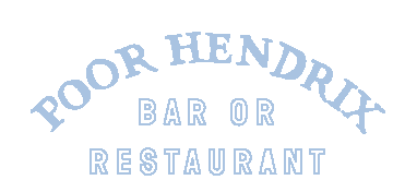 """The logo for Poor Hendrix. """"Poor Hendrix"""" is arched above the words """"Bar or Restaurant"""" in a light blue. It is very minimalist and modern."""