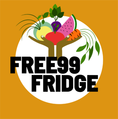 "Free99 Fridge logo. This features two hands holding fresh produce above text stating ""FREE99 FRIDGE"""