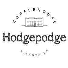 """The logo for Hodgepodge Coffeehouse. """"COFFEHOUSE"""" circles a small building with the word """"Hodgepodge"""" beneath it. The circle bottom reads """"Atlanta, GA"""""""