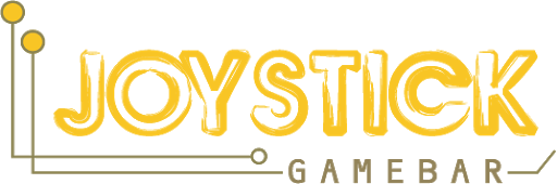 The logo for Joystick Gamebar. It is yellow with messy text and two schematic-like wires propping out of the side.
